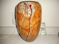"Signed 2006 Dehanna Jones 13"" X 8"" Thick, Heavy Handmade Art Glass Swirl Vase"