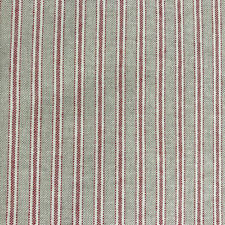 Yale Ticking Stripe Linen Fabric in Red   Double Width 280cm Wide   Curtains