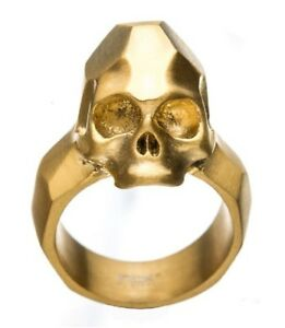 Inox Mens Stainless Steel Gold IP Geometric Skull  Ring Size 9