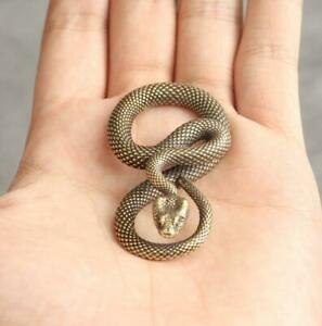 Copper Bronze Snake Statue Figure Handmade Keychain Pendant Crafts Decor Gift