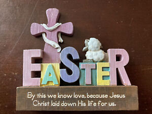 Handmade Solid Wood Easter Decor/Plaque -By This We Know Love, Because Jesus Chr