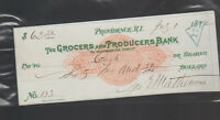 Grocers & Producers Bank Providence Rhode Island Used Check 1872 Green