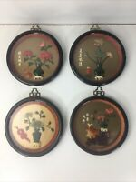"""4 PC SET VINTAGE ROUND 7"""" ASIAN WALL PLAQUES IMITATION JADE MADE IN TAIWAN ROC"""