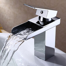 """7"""" Chrome Brushed Waterfall Bathroom Faucet Brass Basin Sink Mixer Tap Single"""