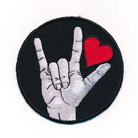 80 mm - Liebe Love Amour Herz Rockabilly Gothic Patch Aufnäher Aufbügler 1009 X