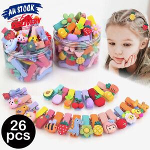 26PCS Girls Snap Kids Child Pin Bow Hairpin Hair Clips Kid Pretty Girl Children