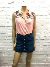 South Sweet As a Button Baby Pink Cut Out Floral Shirt UK 12