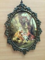 vintage victorian style metal oval frame picture convex glass made in Italy 13""