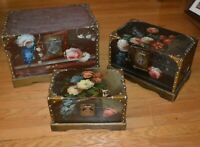 Vintage Decorative Nesting Wood Chest Storage trunks (3)