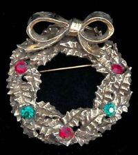 Wreath~Rhinestones & Bow Pin/Brooch,Fjt Vintage Signed Jeanne Goldtone Christmas