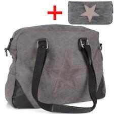 Stern Grau Leder App Tasche Canvas Jeans Stoff Shopper m. Geldbörse Portemonnaie