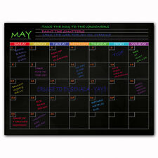 Magnetic Monthly Calendar Blackboard For Fridge - With Groceries and Notes