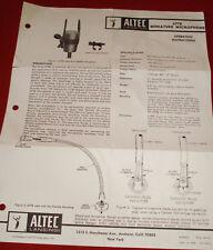 Instruction/Specification Sheet For the Vintage Altec Lansing Model 677B Miniatu