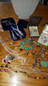 14kt Gold Sterling Silver Vintage Jewelry Lot Rings Pendants Pearls Bracelets