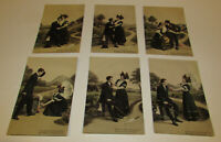 1908 Postcard LOT of 6 RARE romance love courting Emaille Series 2023 very rare!