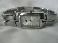 Sempre Watch Rectangular Silver Toned Water Resistant Elegant Style WORKING!