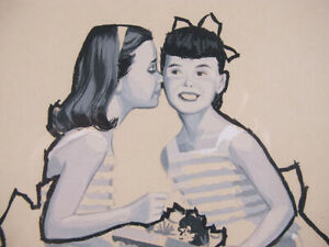 ORIG Paul K Hoover Jr 1960's Illustration Art Gouache Painting Girl's Secret yqz