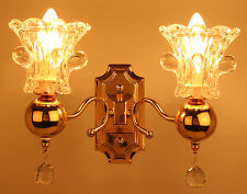 Aesthetichs Contemporary Golden Finish Wall Light with 2 Lamp Shades & Crystals