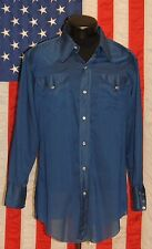 Vtg H Bar C Ranchwear Solid Blue Pearl Snap Western Cowboy Shirt Rocabilly 16-32