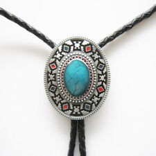 Western Bolo Leather Cord Southwestern Faux Turquoise Bolo Tie W/Engraved Tips