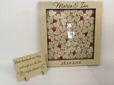 Personalised compensato di betulla scatola rossa a goccia Matrimonio Libro Degli Ospiti 76 CUORI REGALO