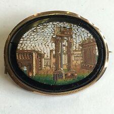 Antiguo 19th Century Micro Mosaico piraneseum Broche Roma Grand Tour 4.3cm A/F