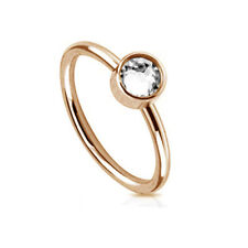 Sterling Silver 925 Rose Gold Plated CZ Accent Hoop Helix Tragus Nose Ring 20G