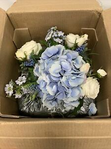 Pottery Barn Faux Hydrangea & Rose Mixed Blue Composed Arrangement Glass $299