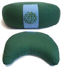 Coussin de méditation Demi-Lune - Zafu Yoga - Vert - Cosse de sarrasin
