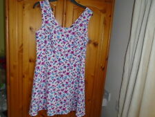 Pretty pink, blue, white floral skater dress, FOREVER 21, size Large, UK 14