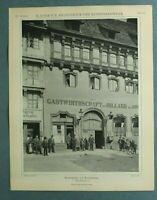 AuK3) Architektur Braunschweig 1903 Reichenstr 31 Gastwirtschaft Billard 26x34cm