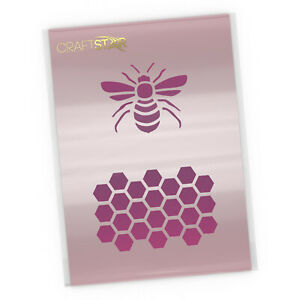 Bee and Honeycomb Stencil - Airbrush / Craft - Honeycomb Pattern Bee Template