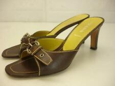 Women's 7.5 37.5 Prada Brown Leather Sandals Silver Buckle Slide Heel Pump Italy
