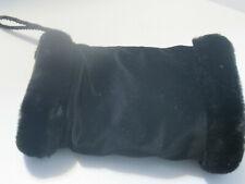 Black Velvet Luxury Black Faux Fur Trimmed Hand Warmer Muff Vintage Estate Sale