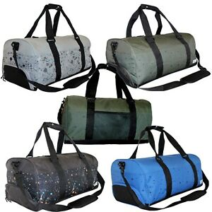 Retro Ladies Mens Yoga Sports Gym Kit Holdall Shoe Compartment Barrel Bag Duffle