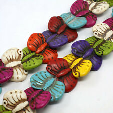 1 Strand 28pcs BUTTERFLIES Synthetic Turquoise Beads mix colour red green purple