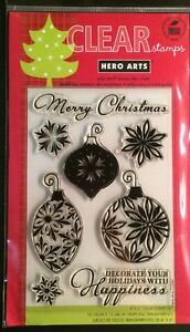 """Hero Arts """"Decorate Your Holiday"""" 4""""x6"""" Clear Stamp Set *New*"""