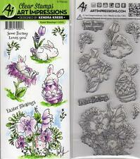 New ART IMPRESSIONS RUBBER STAMP clear cling set EASTER BLESSINGS BUNNY