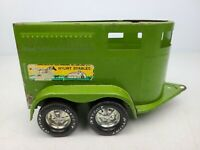 Vintage 1970s Nylint Stables HORSE TRAILER Pressed Steel Toy Green Yellow