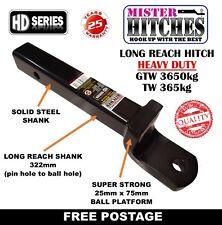 LONG REACH BALL MOUNT HITCH 322MM GTW 3650kg REESE STYLE SHANK TOW BAR TRAILER