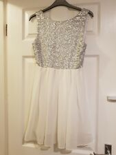 TFNC London silver and white dress. Size small.
