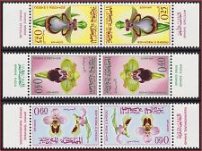 1965 MAROC N°494A/496A**  paires TETE BECHE ORCHIDEES,  1965 MOROCCO Orchids MNH