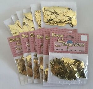 "Vintage Lg 7/8"" Gold Leaf Shaped Sequins NIP 12 Pkgs = 600 pcs"