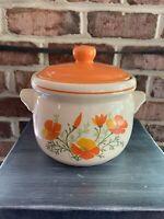 MCM Vintage Oven Proof Stoneware Casserole Dish MCM Orange Poppy W/ Lid Retro