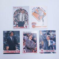 Vintage Lot of 5 Phil Jackson 1990s era NBA Hoops Basketball Cards Chicago Bulls