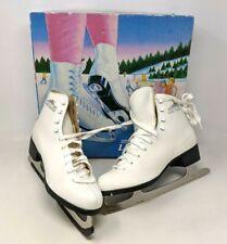 Vtg Lake Placid White Leather Size 9 Model 685 Womens Figure Ice Skates Box Pr21