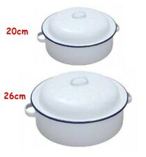 ENAMEL ROUND ROASTER DISH ROASTING OVEN TRAY CASSEROLE PAN WHITE WITH LID S/M