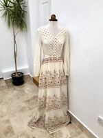 Vtg Rare Betty Barclay Boho Hippy 1970'S 70's Prairie Long Maxi Dress UK 10 (G)