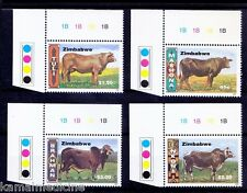 Cattle Breeds, Color Guide, Zimbabwe 1997 MNH 4v -W03