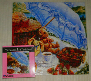 Blue Parasol Timeless Teddies 550 Jigsaw Puzzle MISSING 1 Picnic Strawberries